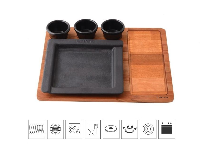 Litinový servírovací talíř 22x22 cm s dřevěným podstavcem