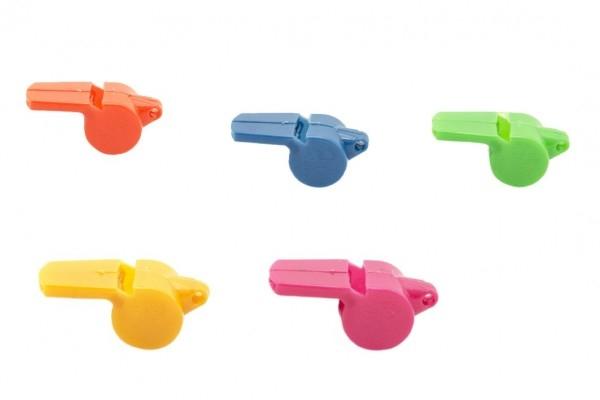 Píšťalka plast 5cm asst 5 barvy v sáčku