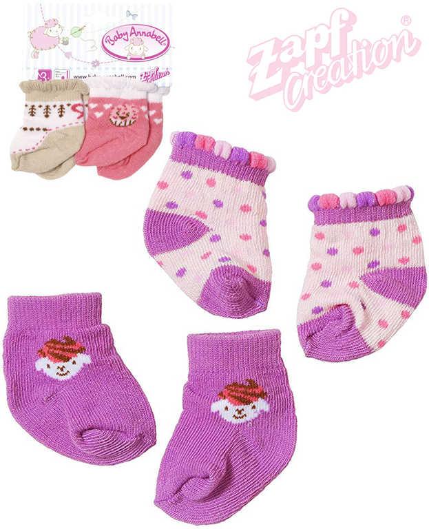 ZAPF BABY ANNABELL Ponožky pro panenku miminko set 2ks - 2 druhy
