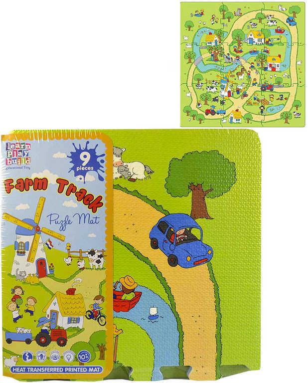 Baby puzzle pěnový koberec na zem farma 92x92cm set 9ks měkké bloky