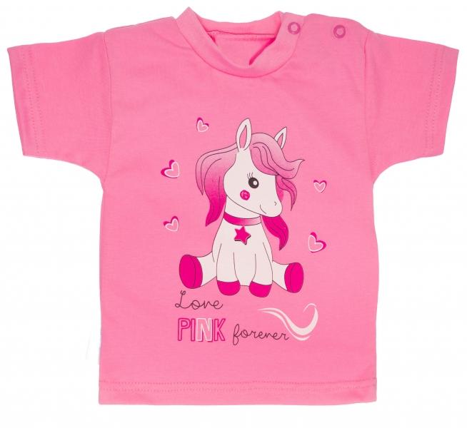 Bavlněné tričko, vel. - 74 - Pony - růžové - 74 (6-9m)