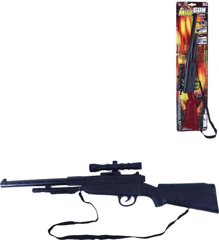 Puška dětská vojenská se zaměřovačem 68cm zbraň se zvukem 2 druhy