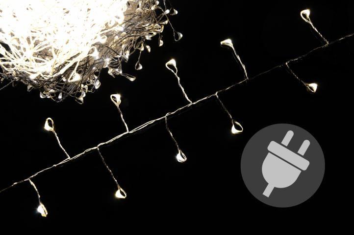 Vánoční LED osvětlení 7,5 m - stříbrný drát - teple bílé 300 LED