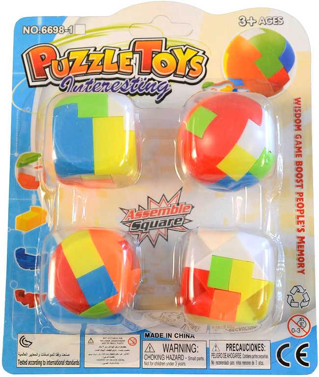 Hra hlavolam kostka barevná skládačka přívěsek 2v1 set 4ks plast