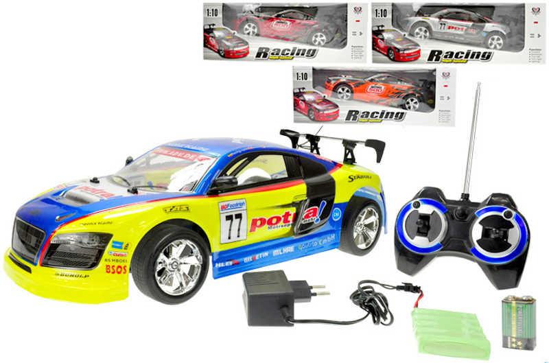 RC Auto závodní 45cm Na vysílačku Svítící kola Set S adaptérem a Packem