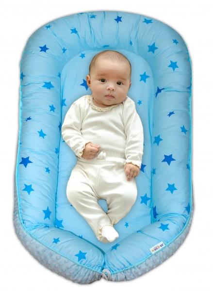 Maxi oboustranné hnízdečko s minky pro miminko Hvězdičky modré, sv.modré minky