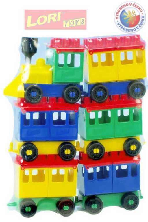 LORI 008 Vláček plastový maxi 8 set lokomotiva + 5 vagonků
