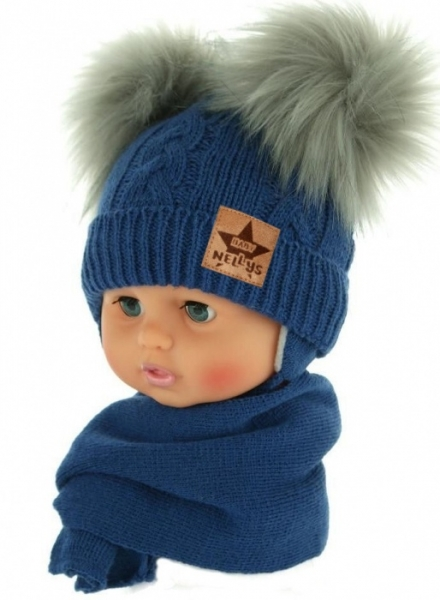 baby-nellys-zimni-cepicka-s-salou-chlupackove-bambulky-tmave-modra-sede-bambulky-6-18mesicu