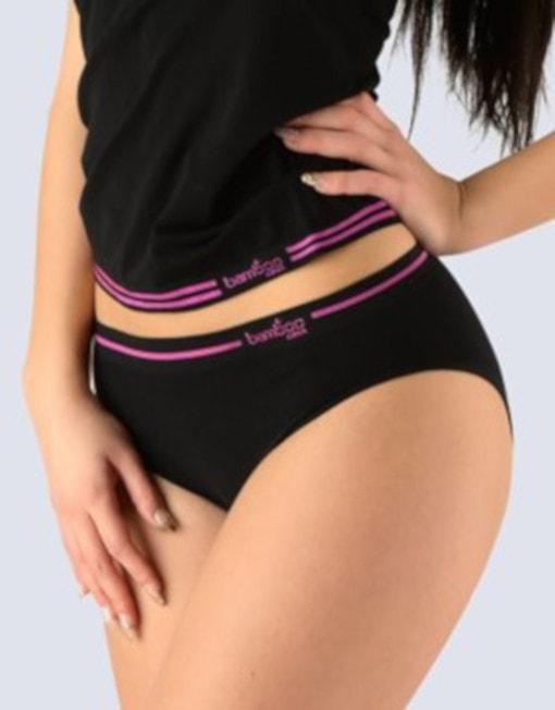 GINA dámské kalhotky klasické, širší bok, bezešvé Bamboo 00023P - černá višňová