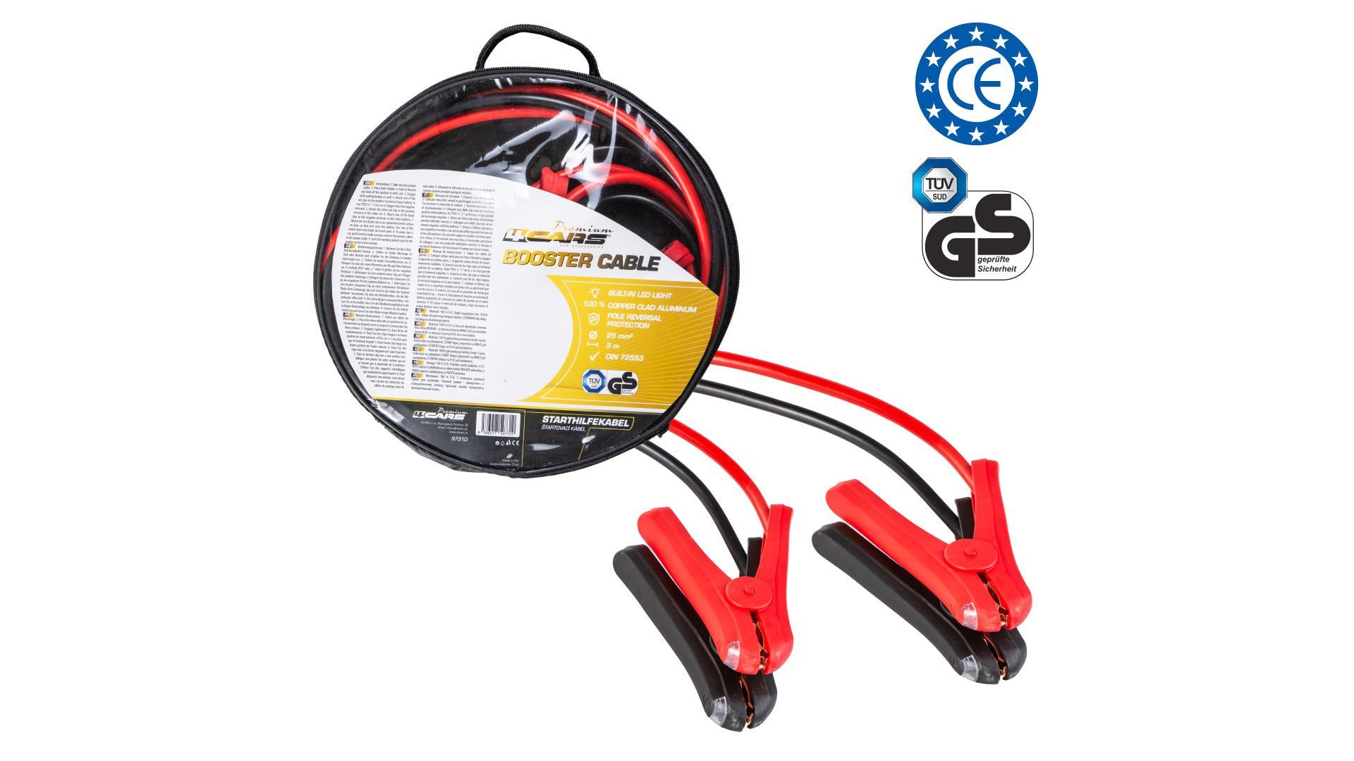 4CARS Premium Startovací kabel - DIN 72553 izolované kleště, LED světlo, ochrana pólů, tloušťka 16.0MM², 3metre