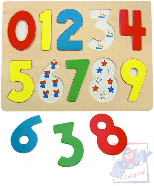 WOODY DŘEVO Puzzle vkládací abeceda s beruškami na desce