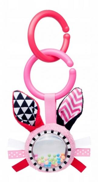 Canpol babies Závěsná plyšová hračka s chrastítkem - Zajíček, růžová
