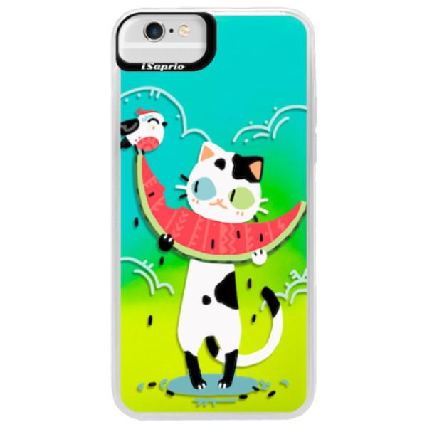 Neonové pouzdro Blue iSaprio - Cat with melon - iPhone 6 Plus/6S Plus