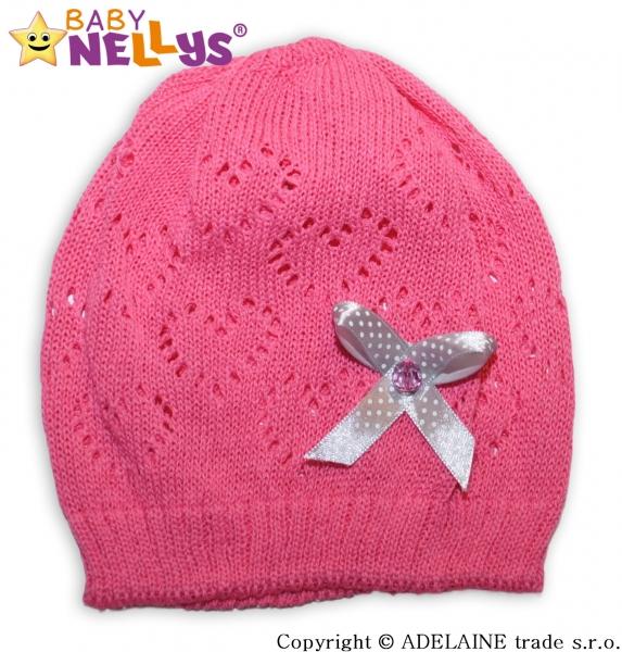 Háčkovaná čepička Mašlička Baby Nellys ® - tm. růžová - 44/52 čepička obvod