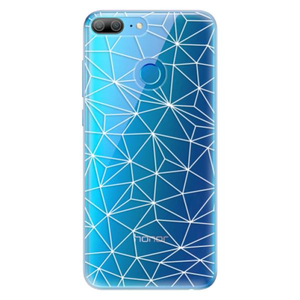 Odolné silikonové pouzdro iSaprio - Abstract Triangles 03 - white - Huawei Honor 9 Lite