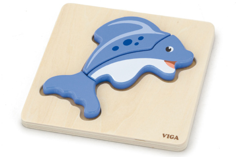 Dřevěné puzzle pro nejmenší - delfín