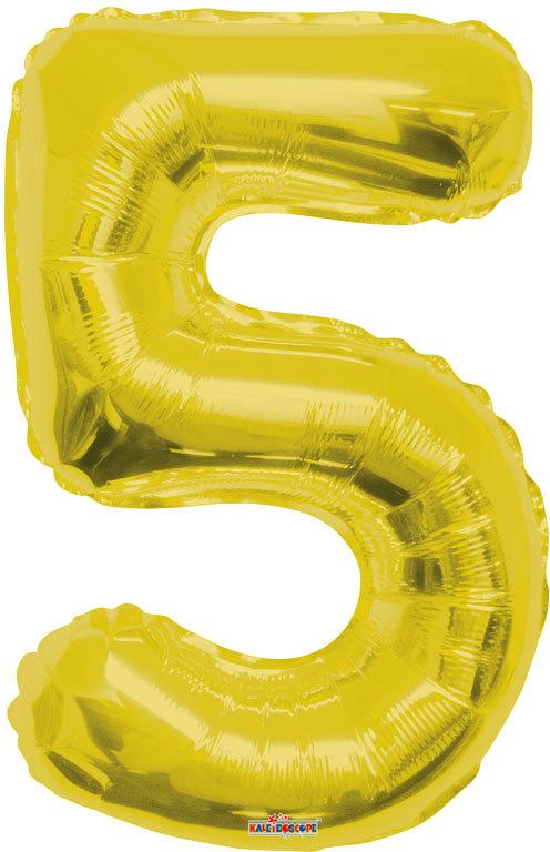 Party balonek nafukovací 86cm Číslice 5 zlatý velký foliový vzduch i helium