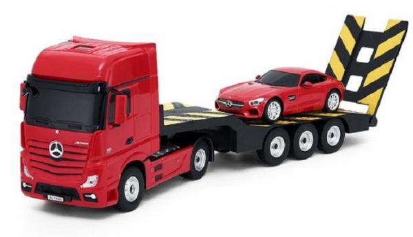 Kamion 2v1 Mercedes-Benz Actros + AMG GT3 1:24 - červený