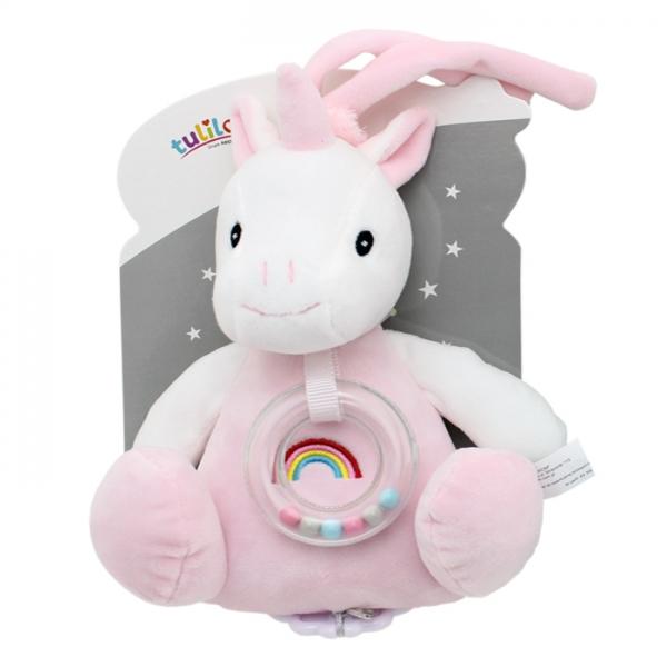 Závěsná plyšová hračka Tulilo s melodií a chrastítkem Jednorožec, 18 cm - růžový