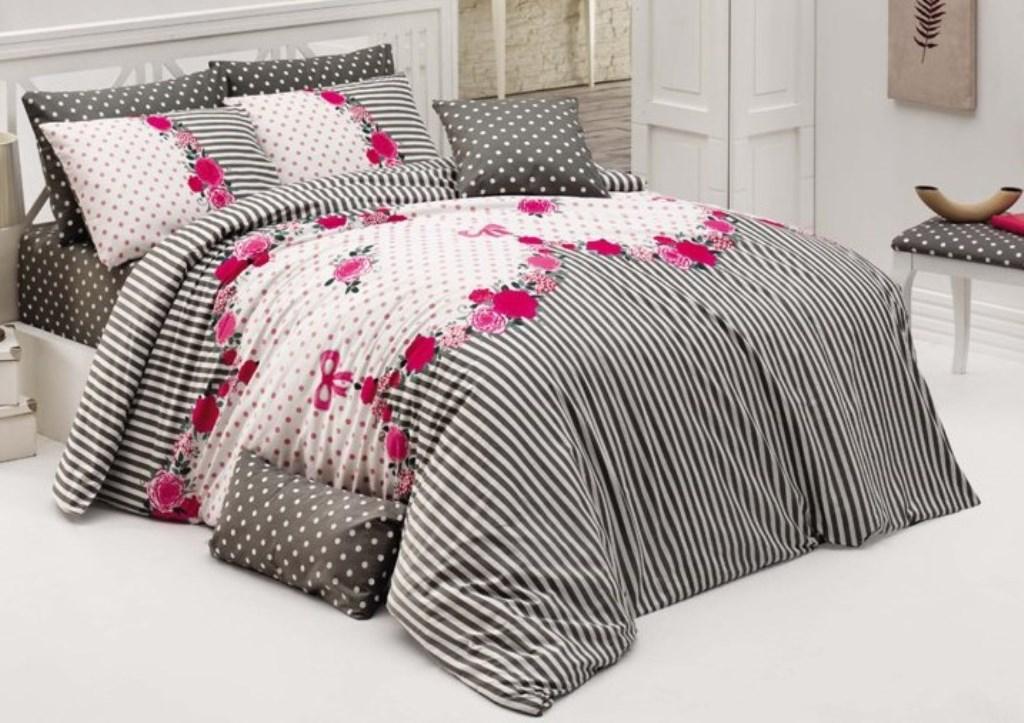 Povlečení bavlna 140x200, 70x90cm Tanya růžová, Výběr zapínání: zipový uzávěr