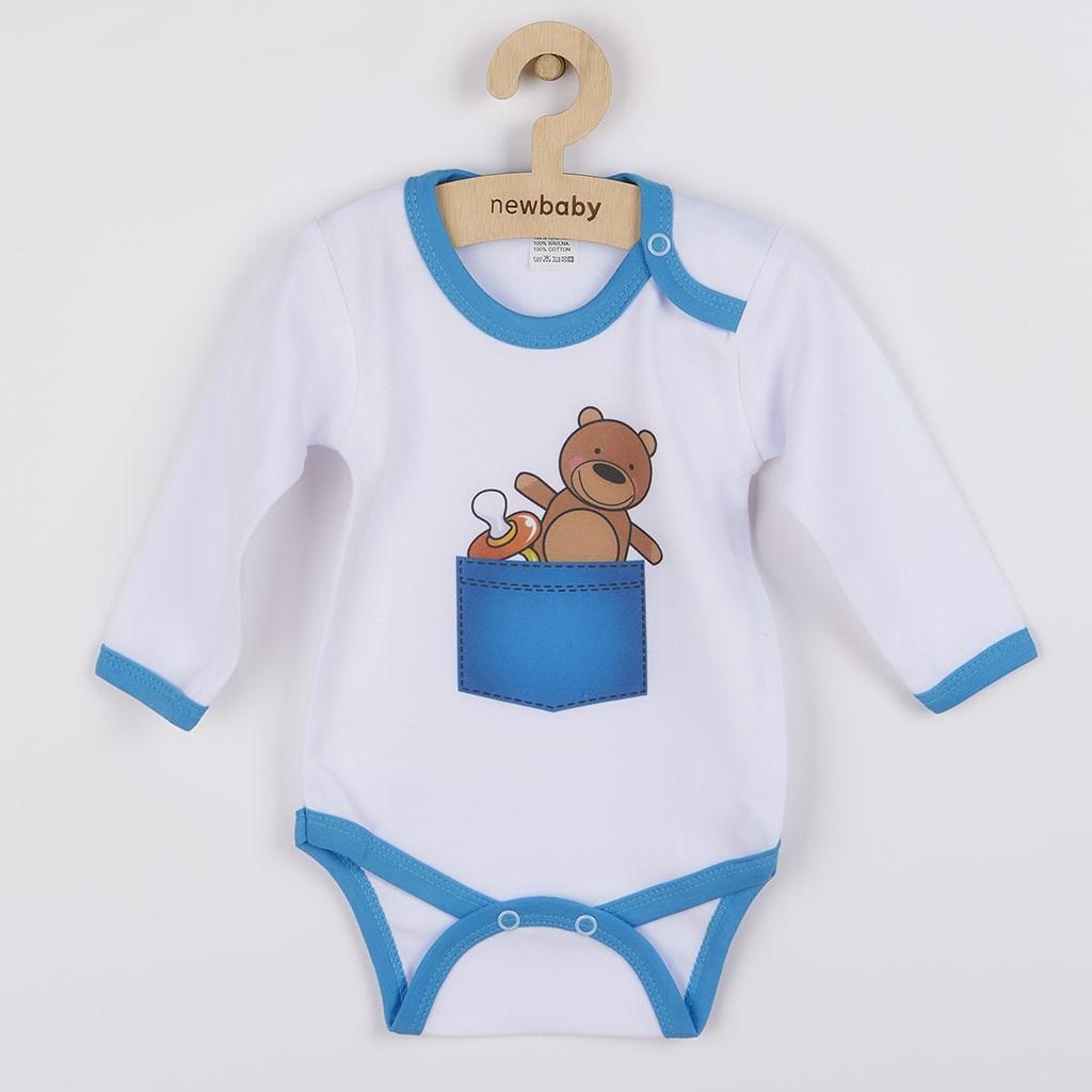 Body s potiskem New Baby medvídek v kapse - dle