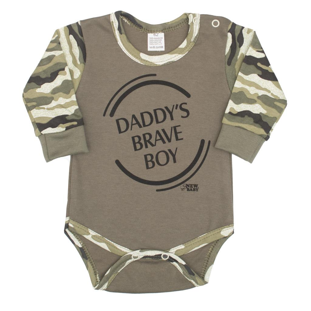 Kojenecké body s dlouhým rukávem New Baby Army boy - zelená/86 (12-18m)
