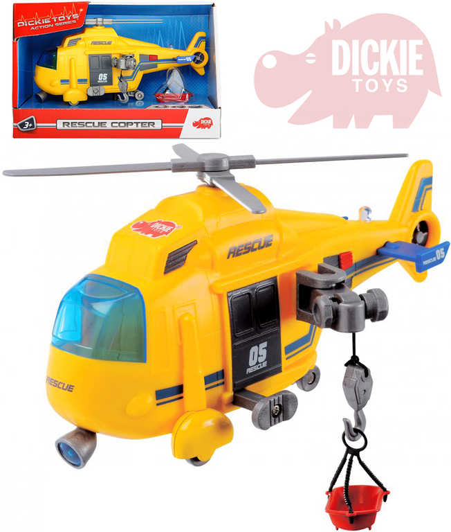 DICKIE Vrtulník záchranářský 18cm ambulance funkční naviják Světlo Zvuk
