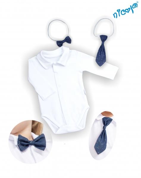 Kojenecké body dlouhý rukáv s kravatou a motýlkem Nicol, Baletka