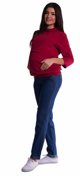 Těhotenské kalhoty letní bez břišního pásu - tmavý - jeans - 4XL