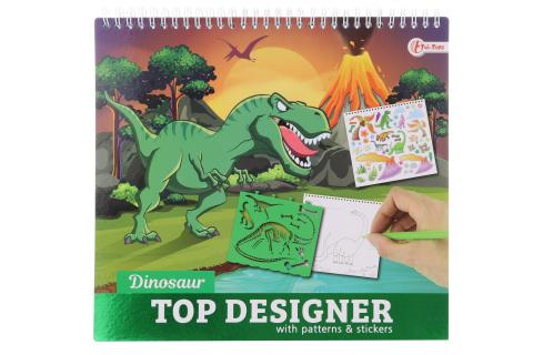 Kreslící blok Dino se samolepkami a šablonami