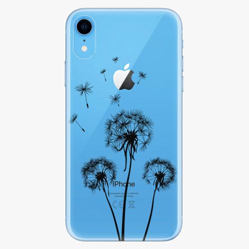 Silikonové pouzdro iSaprio - Three Dandelions - black - iPhone XR