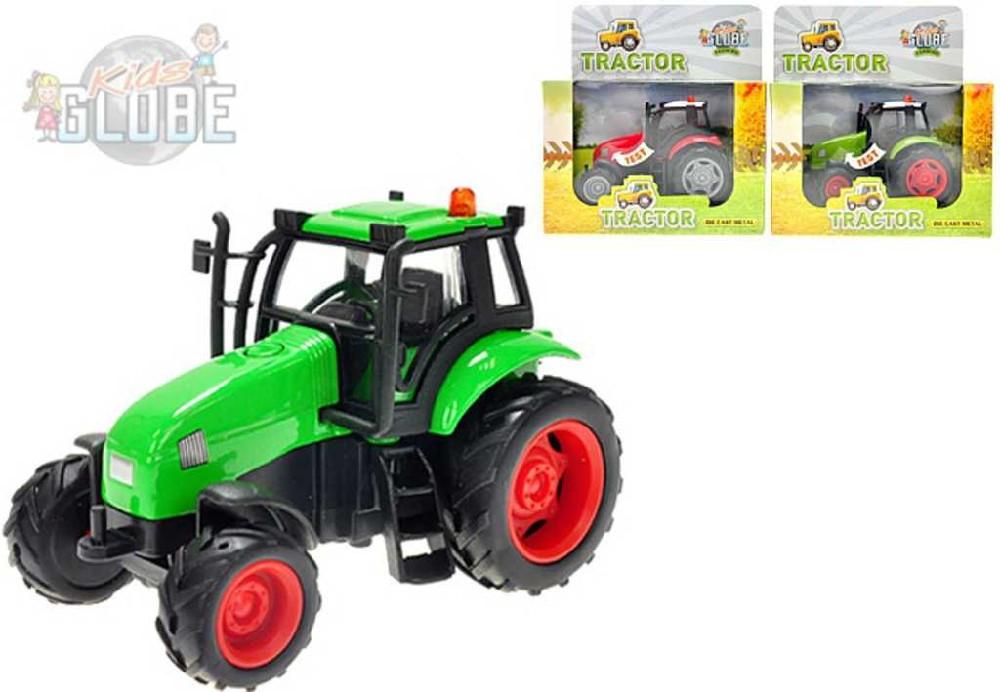 KIDS GLOBE Traktor kovový 12 cm světlo zvuk na setrvačník 3 barvy