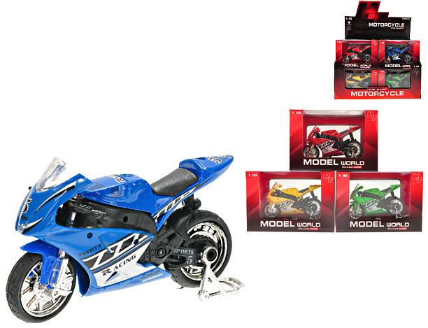 Motorka 10 cm kov se zvukem 4 barvy Model 1:18 Motocykl