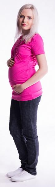 Be MaaMaa Těhotenské a kojící triko s kapucí, kr. rukáv - amarant