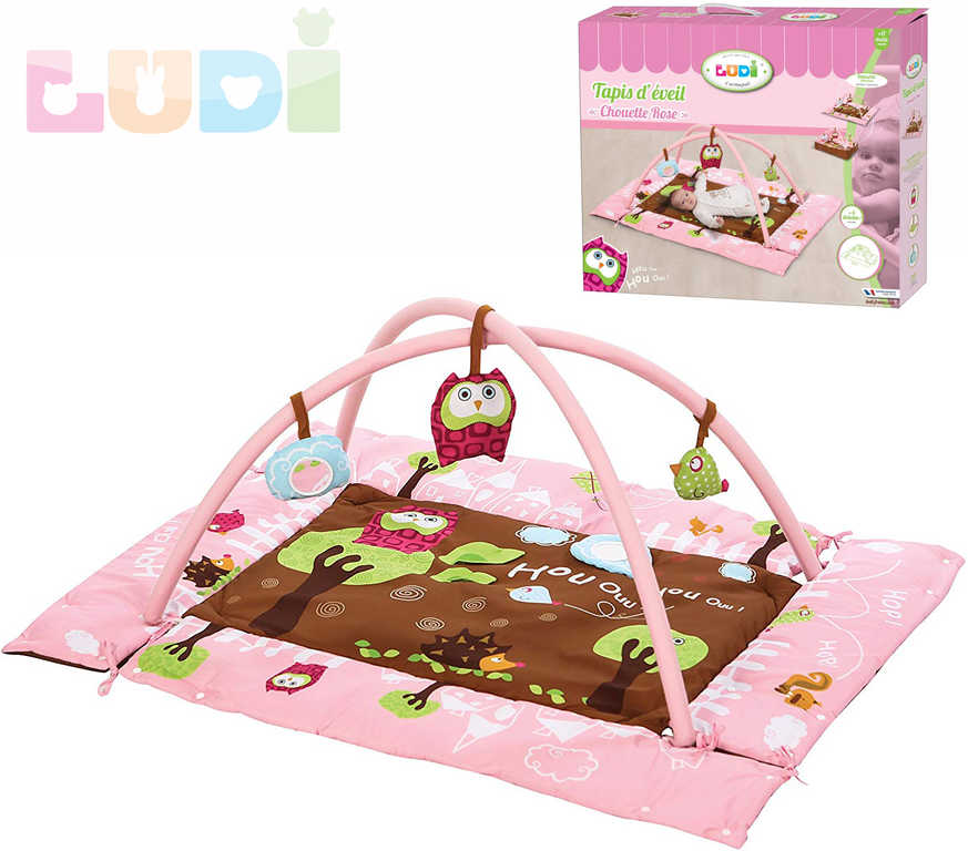 LUDI Baby hrací deka sova růžová 107×87cm s hrazdou a hračkami pro miminko