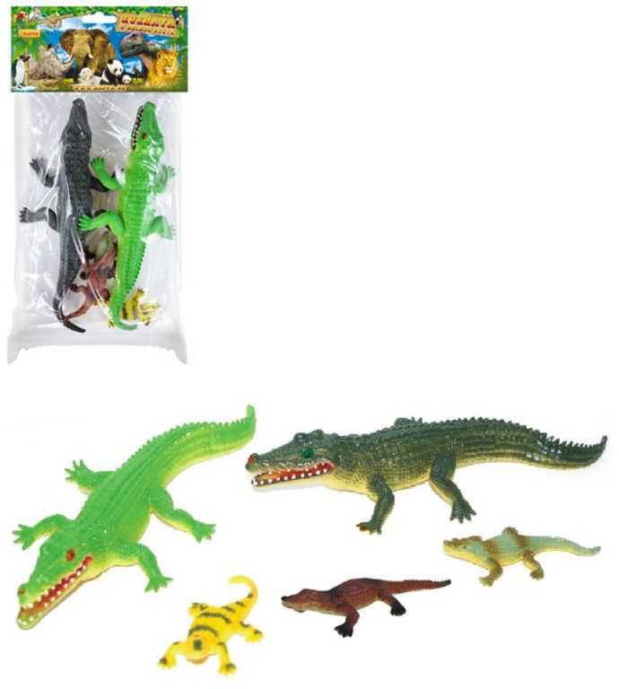 Krokodýli barevní set 5ks zvířátka figurky v sáčku plast