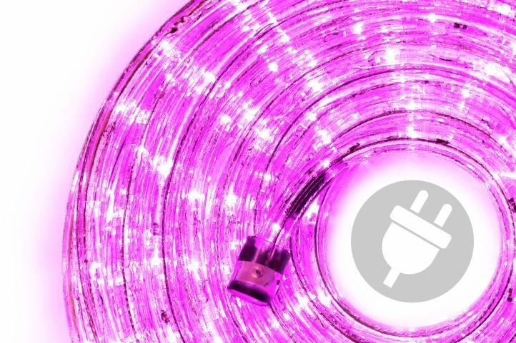 LED světelný kabel 20 m - růžová, 480 diod