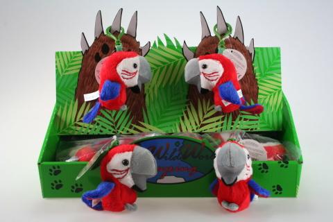 Plyš Papoušek červený klíčenka 24/bal