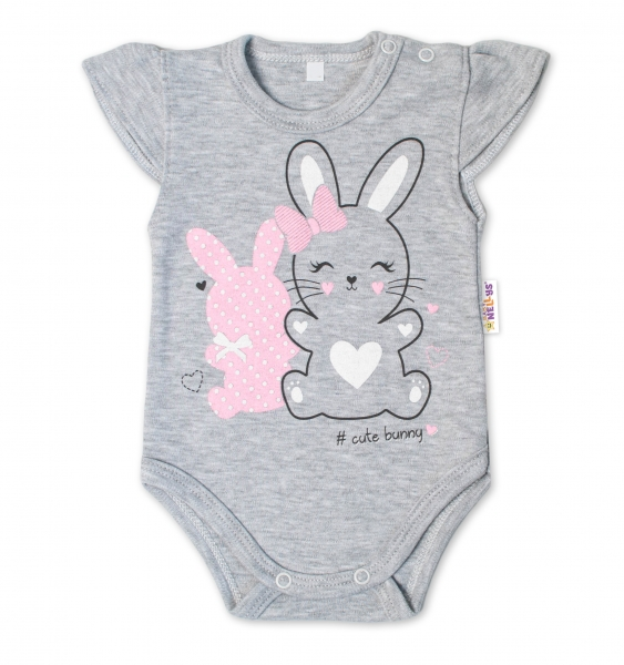 Baby Nellys Bavlněné kojenecké body, kr. rukáv, Cute Bunny