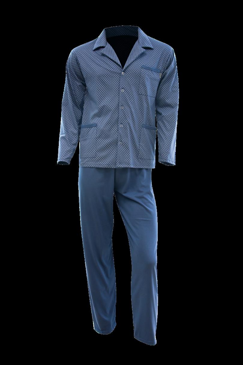 Pánské pyžamo s dlouhými rukávy - Tmavě modrá/tečky/M