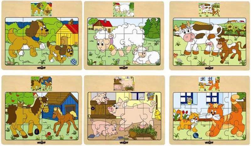 WOODY DŘEVO Puzzle na desce Zvířátka domácí s mláďátky 6 druhů