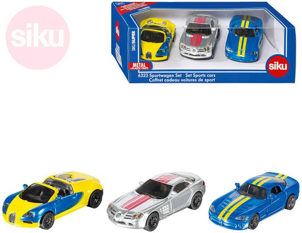 SIKU Super sportovní auto kovové set 3ks v krabici