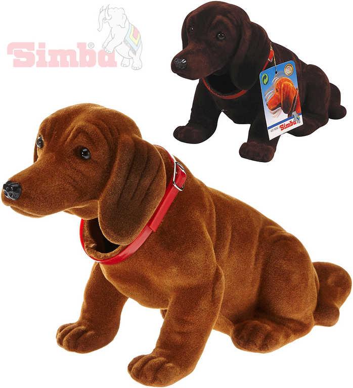 SIMBA Pes s kývací hlavou Jezevčík 24cm dekorace plast 2 barvy
