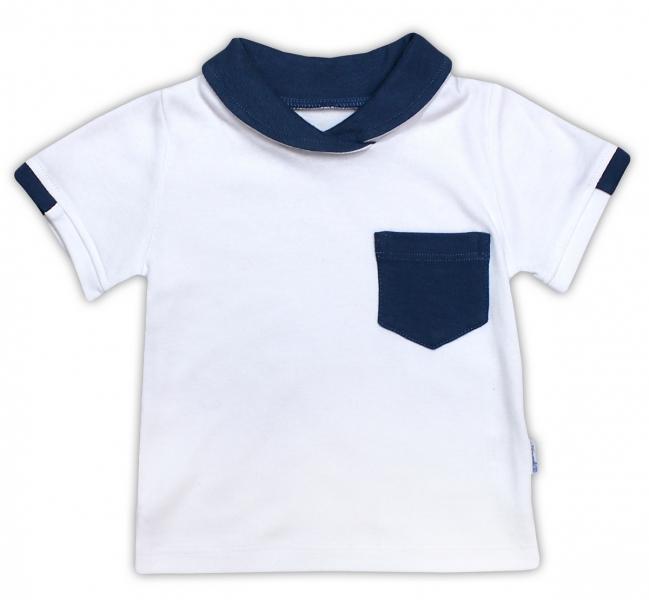 Bavlněné tričko/polo NICOL SEDMIČKA - krátký rukáv - bílá - 74 (6-9m)