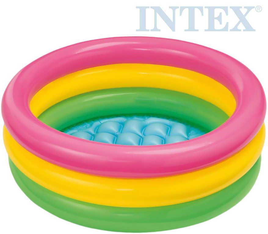 INTEX Bazének dětský nafukovací tříbarevný 61x22cm kulatý 57107