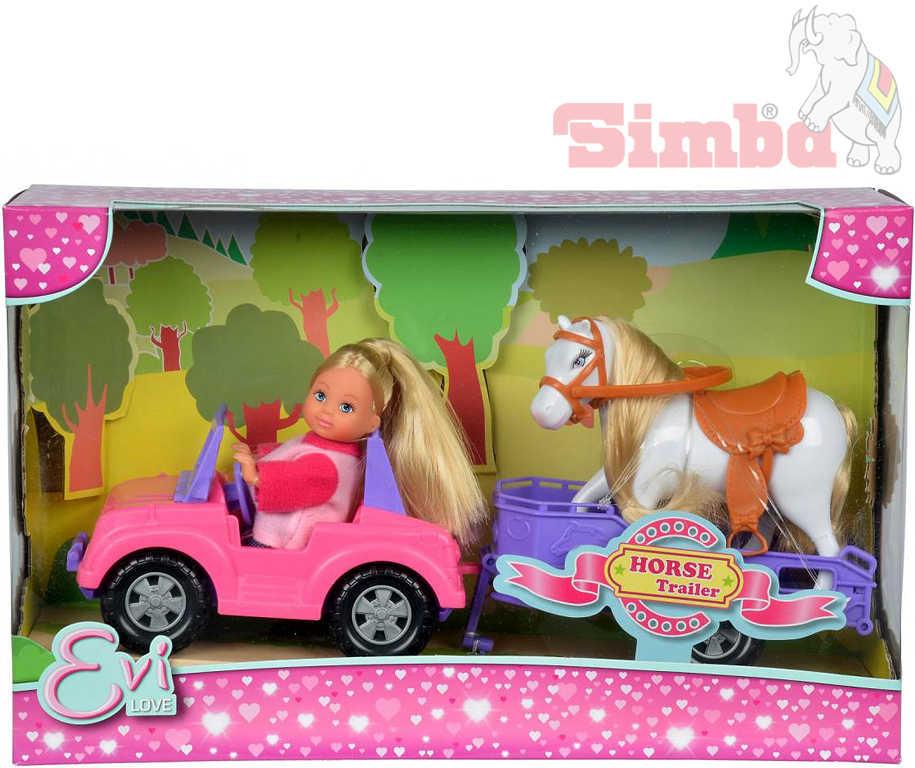 SIMBA Evi Love panenka Evička 12cm set s džípem a přívěsem pro koně