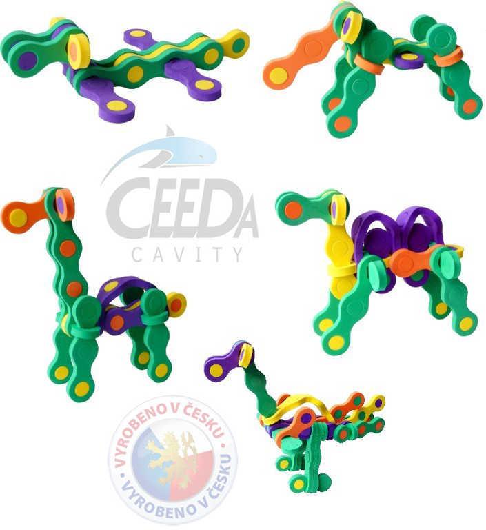 CEEDA STAVEBNICE ZOO Puzzlock pěnová kreativní 3D puzzle 22 dílků