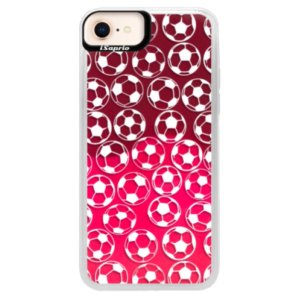 Neonové pouzdro Pink iSaprio - Football pattern - white - iPhone 8