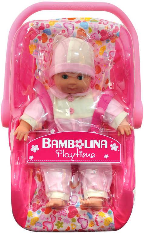 Cestovní set panenka Bambolina + autosedačka 30 cm se srdíčky