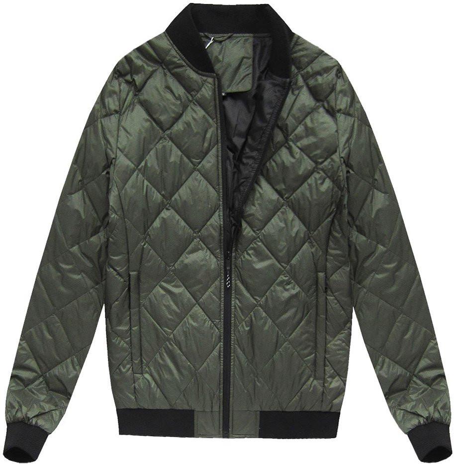 Khaki pánská bunda s přírodní vycpávkou (5022)